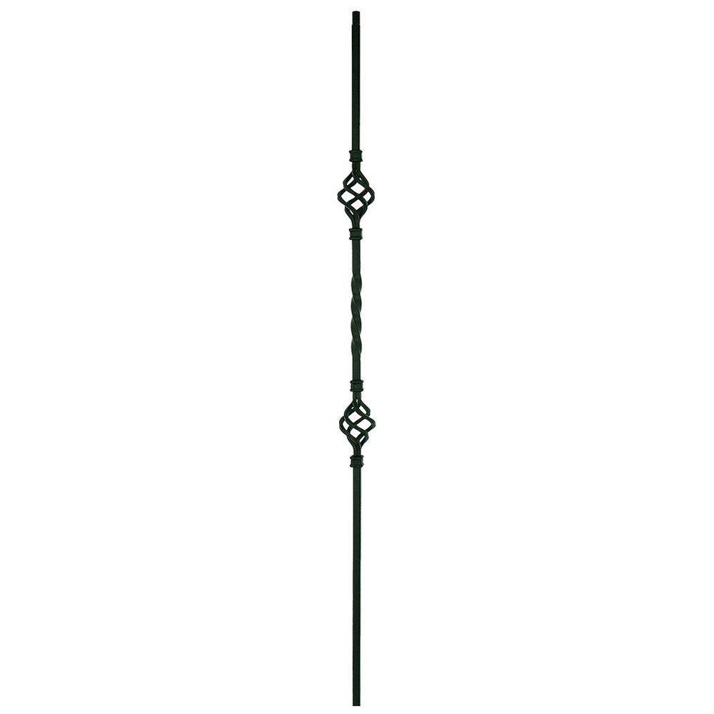 44 in. x 1/2 in. Satin Black Metal Double Basket Baluster