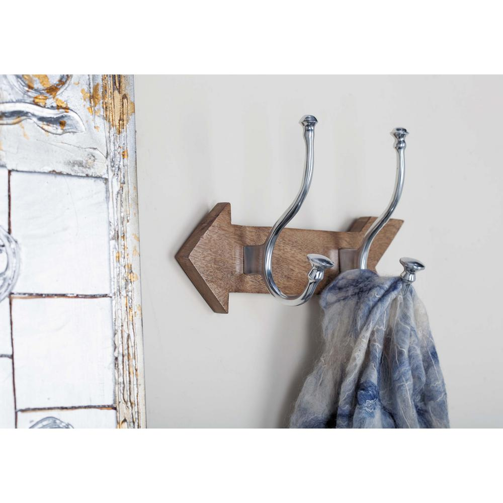 12 in. Aluminum and Wood Wall Hook Rack