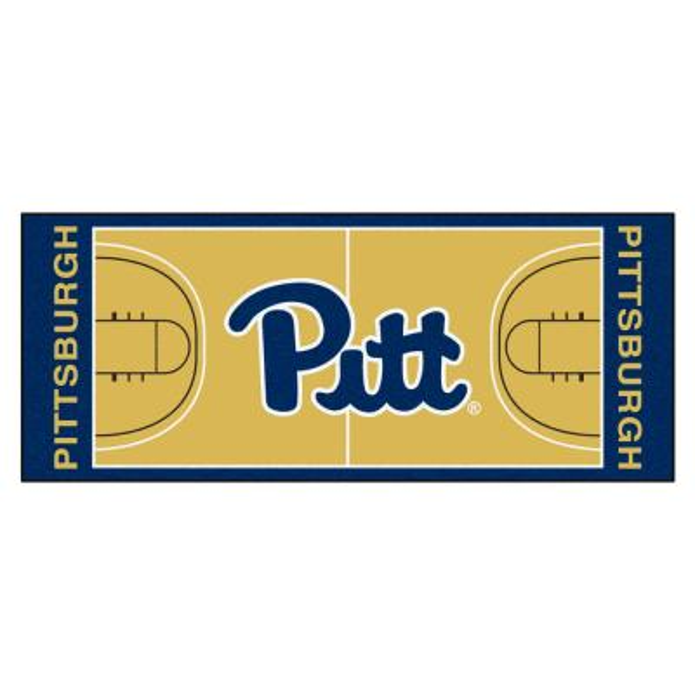 NCAA - University of Pittsburgh Tan 3 ft. x 6 ft. Indoor Basketball Court Runner Rug