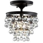 Toronto 10 in. Oil Rubbed Bronze Metal/Crystal LED Flush Mount