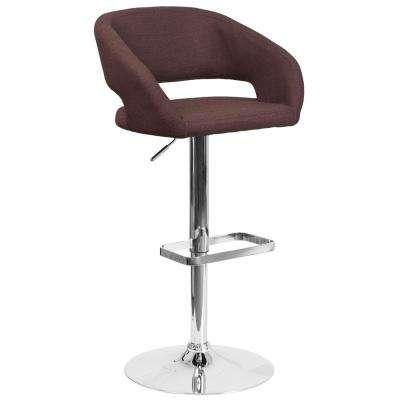32 in. Adjustable Height Brown Cushioned Bar Stool