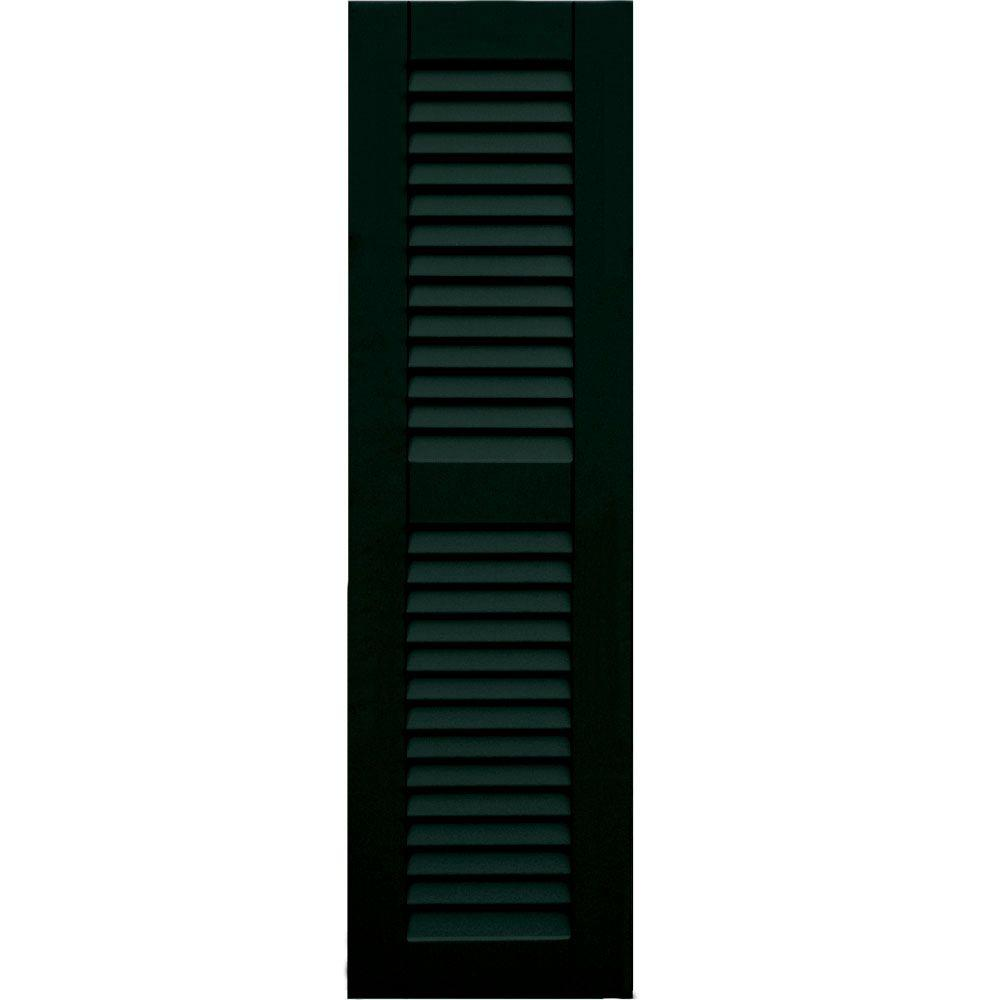 Wood Composite 12 in. x 42 in. Louvered Shutters Pair #654 Rookwood Shutter Green