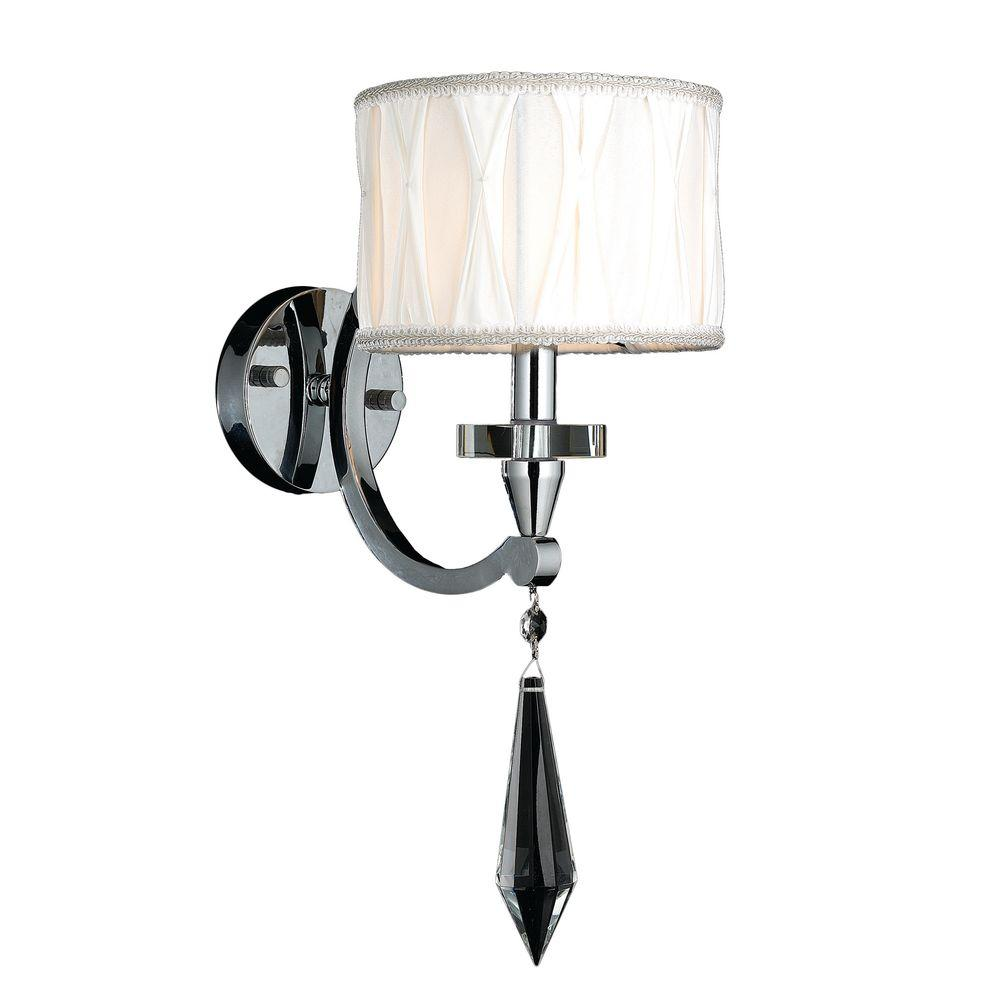 Worldwide Lighting Cutlass 1-Light Polished Chrome Wall Sconce with Clear Crystal-W23134C8 - The ...