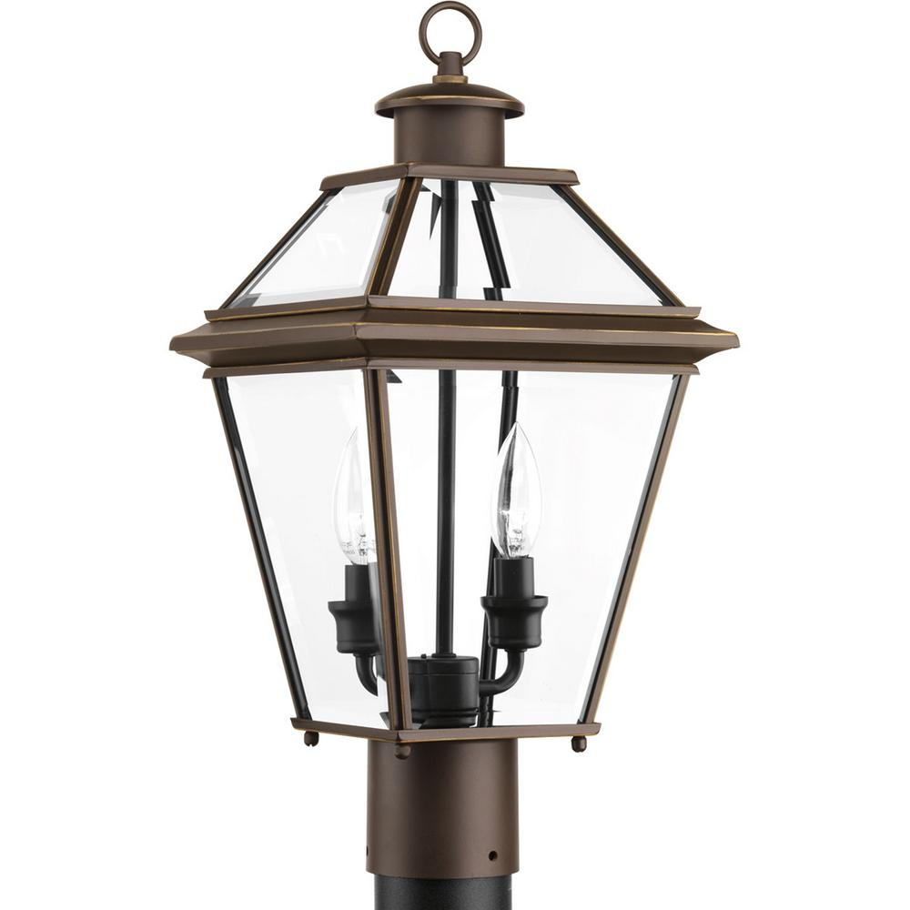 Progress Lighting Burlington Collection 2 Light Outdoor Antique Bronze Post Lantern