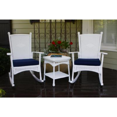 Portside Classic White 3-Piece Wicker Outdoor Bistro Set with Blue Cushion