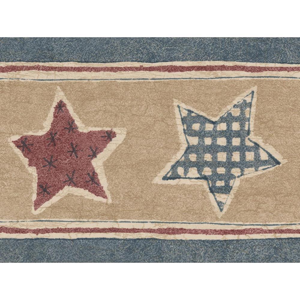 Retro Art Red and Aegean Blue Stars Vintage Beige Brown Prepasted