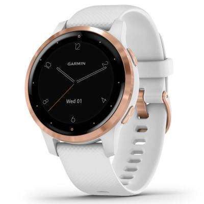 vivoactive 4S GPS Smart Watch in Rose Gold Stainless Steel Bezel with White Case and Silicone Band