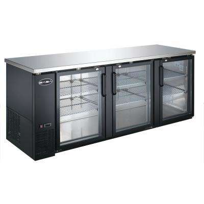 90.5 in. W 32 cu. ft. Commercial Back Bar Refrigerator with Glass Doors in Stainless Steel With Black Finish