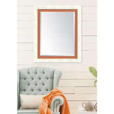 30 in. x 36 in. Framed French White and Orange Mirror