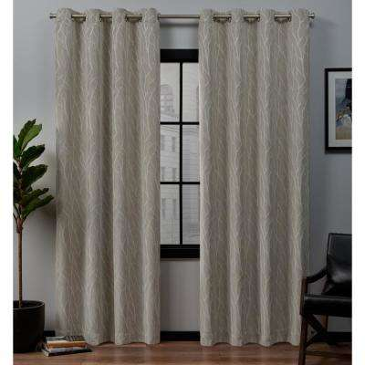 Forest Hill 52 in. W x 84 in. L Woven Blackout Grommet Top Curtain Panel in Linen (2 Panels)