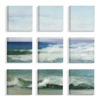"12 in. x 12 in. ""Blue Cresting Waves Ocean Horizon Painting"" by Julia Purinton Canvas Wall Art (9-Piece)"