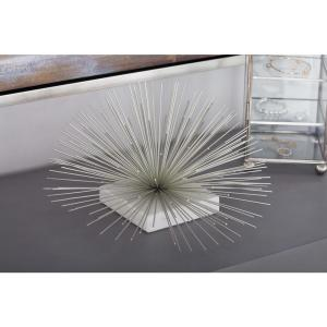 6 inch Dome Flower Decorative Sculpture in Silver by