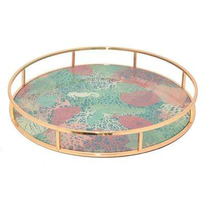 2 in. Metal Tray with Flower in Rose Gold