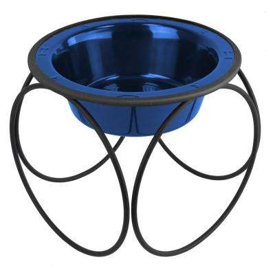 Platinum Pets 6.25 Cup Olympic Single Diner Feeder with Dog Bowl, Sapphire Blue
