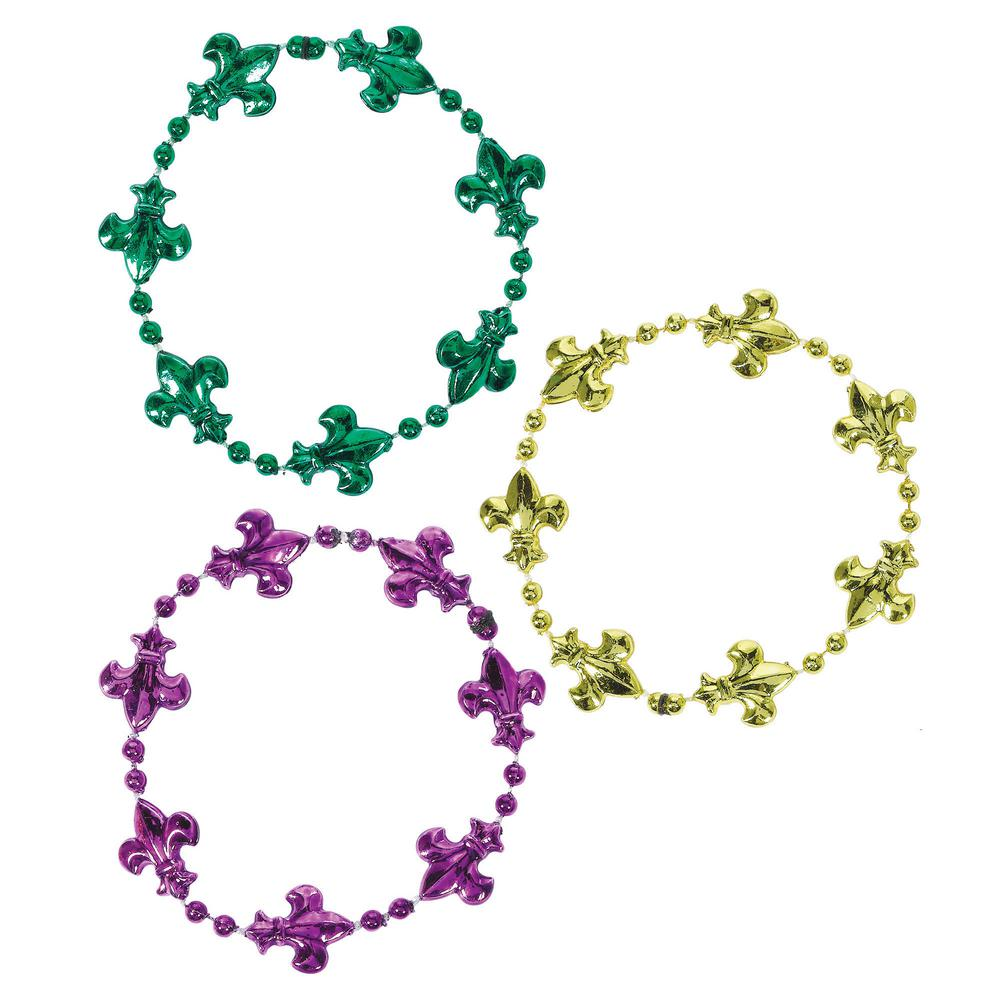 Green, Purple and Gold Plastic Fleur de Lis Mardi Gras Beaded Bracelet (4-Count, 11-Pack) Mardi Gras just wouldn't be the same without beads. Gold, green and purple Fleur de Lis beads adorn this attention-grabbing bracelet. You'll be the belle of every ball when people see you rocking this Fleur de Lis Mardi Gras bracelet. Shimmering in classic gold, green and purple, you'll be at the center of everyone's attention wearing this.