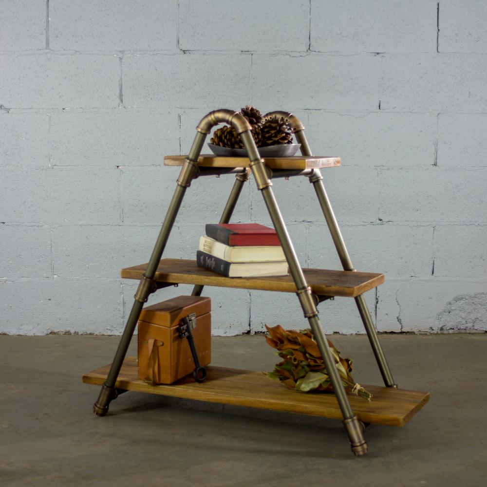 OS Home And Office Furniture Brushed Brass Industrial Three Tiered A Frame Bookshelf