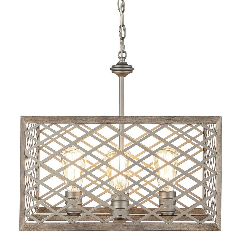 Home Decorators Collection Wallace Manor Collection 4-Light Gilded Pewter Pendant with Interweaving Open Cage Frame