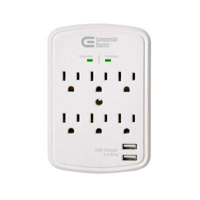6-Outlet USB Wall Tap Surge Protector, White