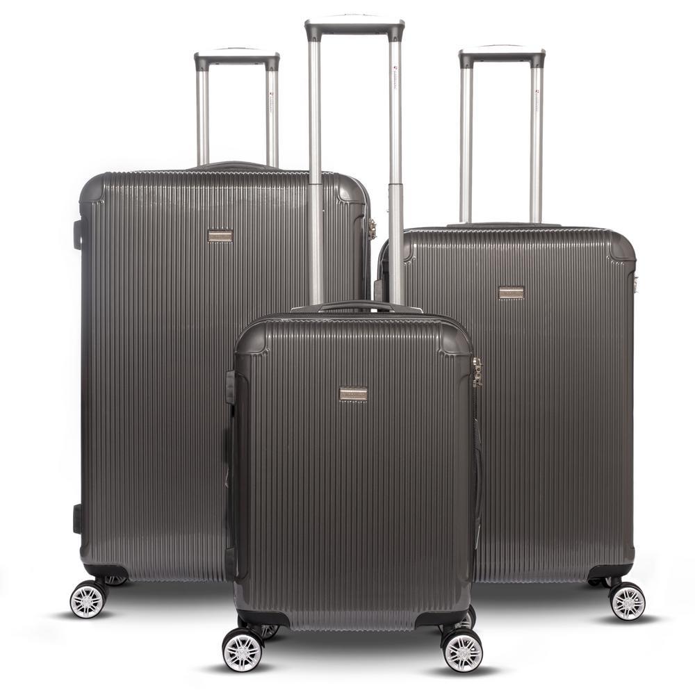Genova 3-Piece Dark Gray Hardside Upright Spinner Luggage Set