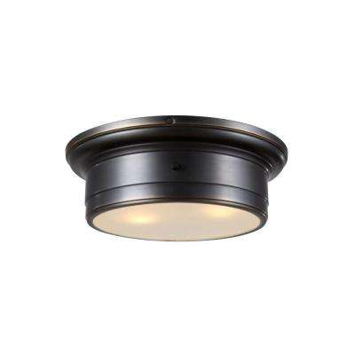 Sansa 2-Light Bronze Flushmount