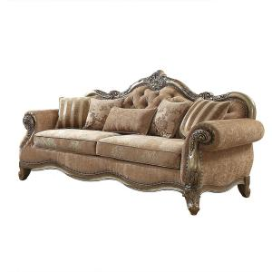 Amelia 35 in. Vintage Oak Fabric 3-Seater Settee with Removable Cushions