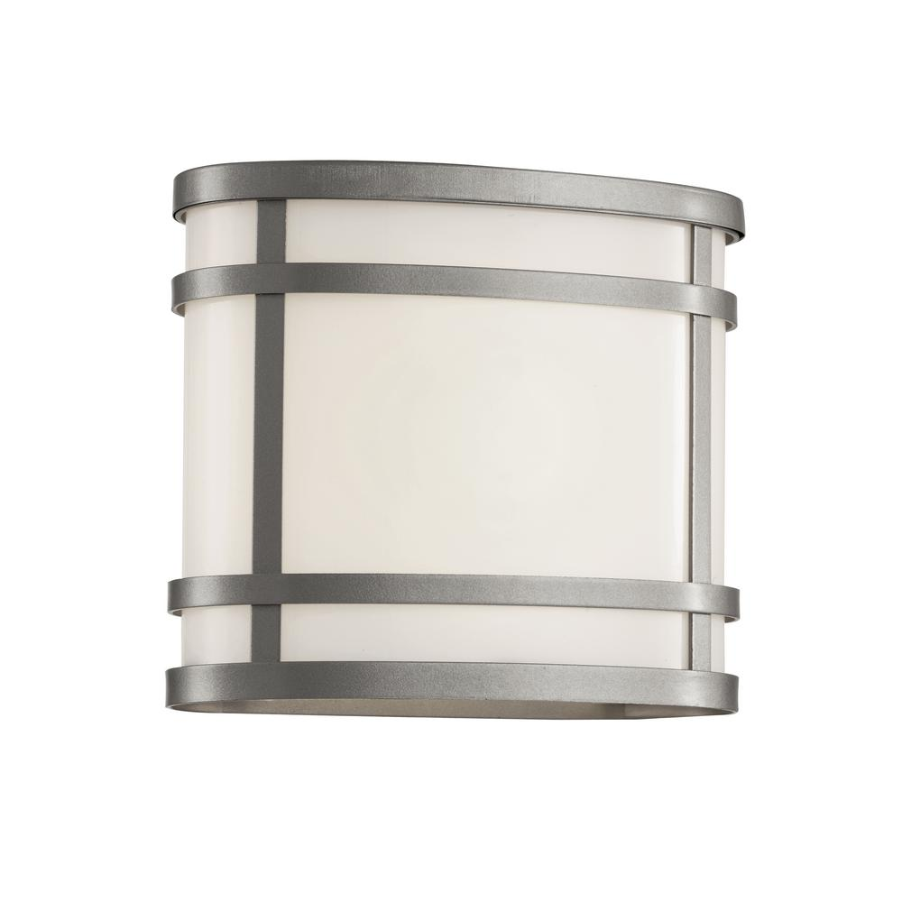 1-Light Silver Outdoor Wall Lantern with Frosted Glass