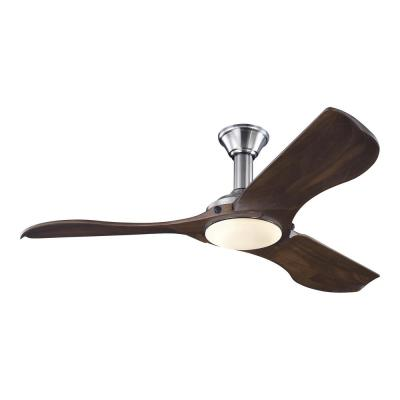 Minimalist 56 in. LED Indoor/Outdoor Brushed Steel Ceiling Fan with Dark Walnut Balsa Blades and Remote Control