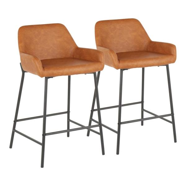 Fine Daniella 24 In Industrial Counter Stool In Camel Faux Gmtry Best Dining Table And Chair Ideas Images Gmtryco
