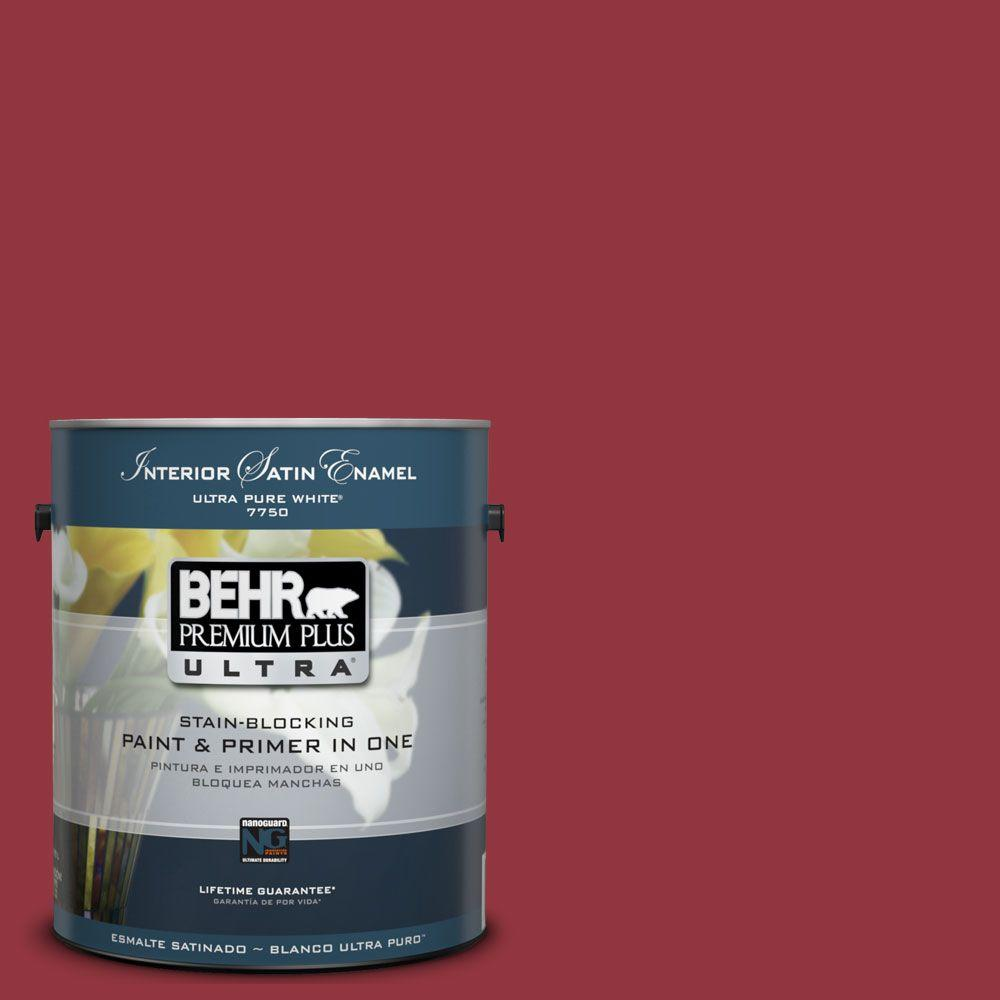 BEHR Premium Plus Ultra 1-Gal. #UL100-6 Red Velvet Interior Satin Enamel Paint