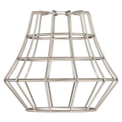 6-1/2 in. Brushed Nickel Angled Bell Cage Shade with 2-1/4 in. Fitter and 7-5/8 in. W