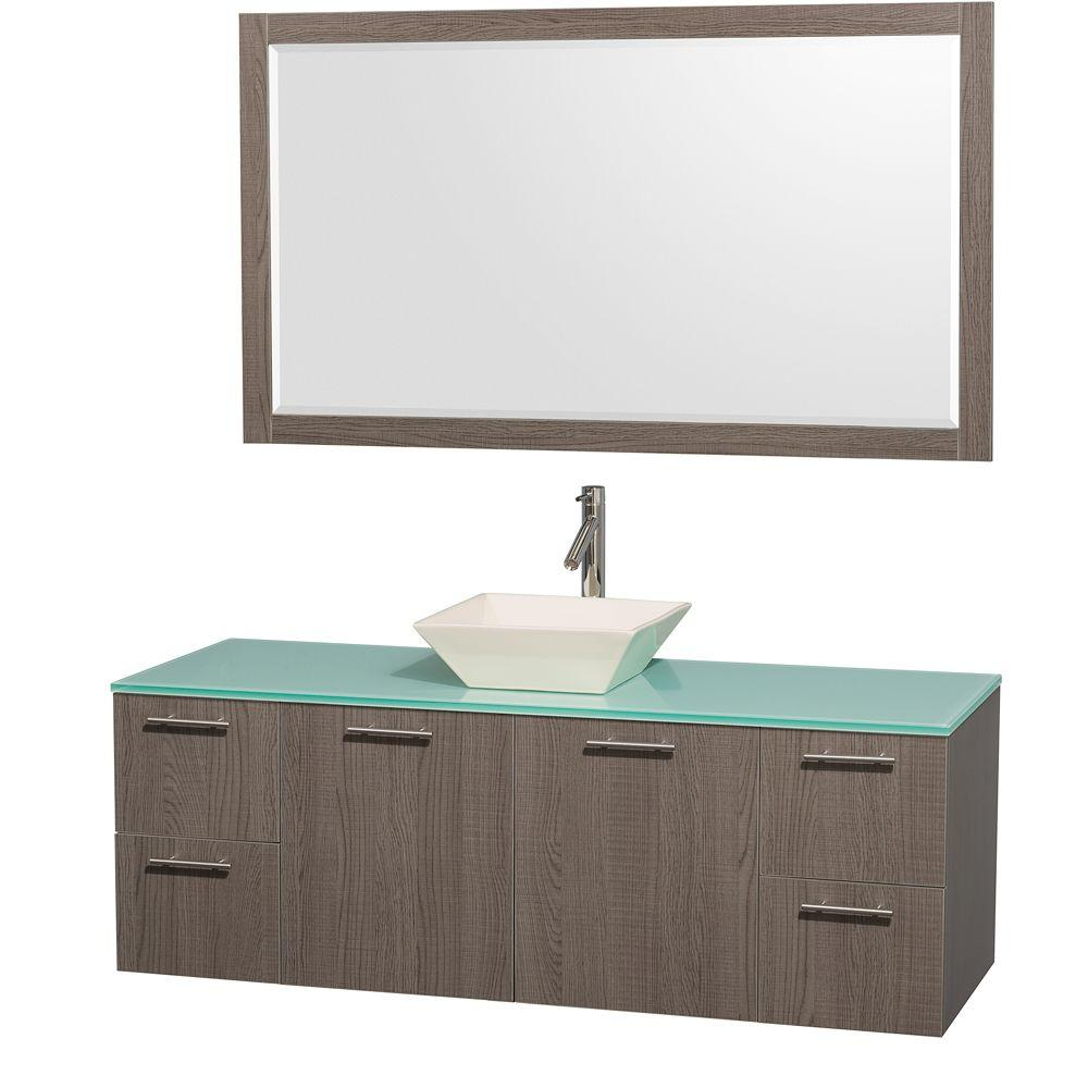 Amare 60 in. Vanity in Grey Oak with Glass Vanity Top