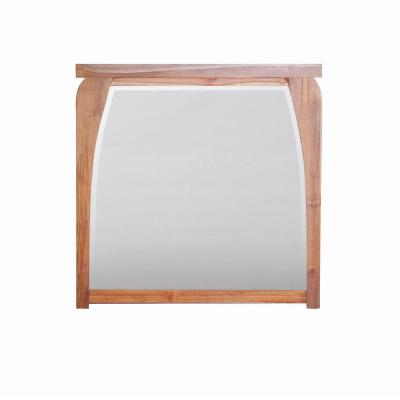 Tranquility 36 in. L x 35 in. H Single Solid Teak Framed Mirror in Natural Teak