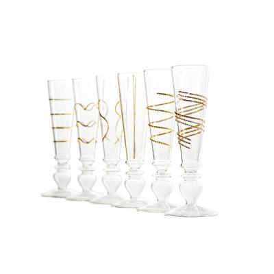 Footed Razzle Dazzle Flutes with Gold Accents (Set of 6)