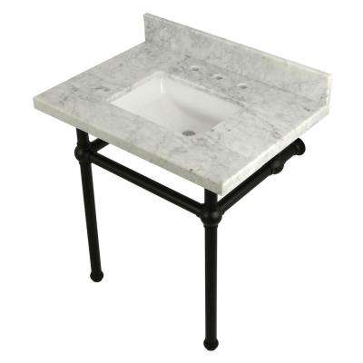 Square-Sink Washstand 30 in. Console Table in Carrara with Metal Legs in Matte Black