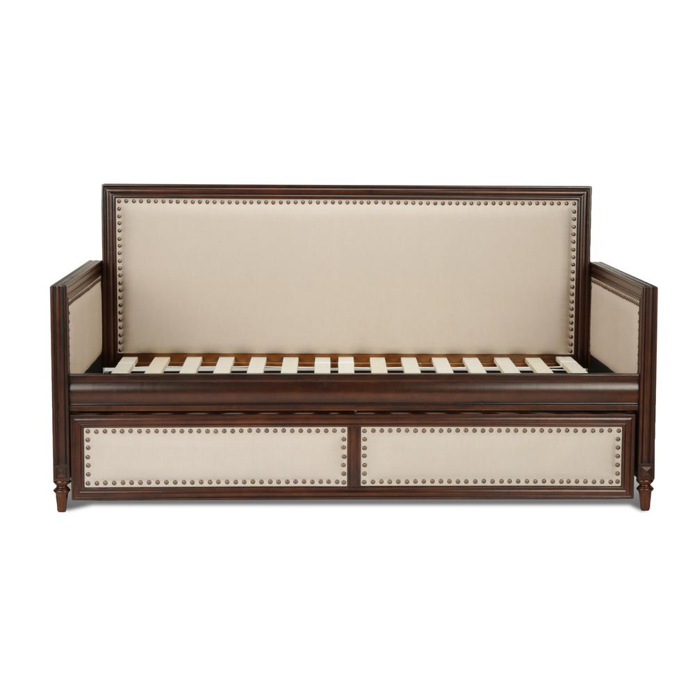 Grandover Espresso Twin-Size Wood Daybed with Cream Upholstery and Rolling