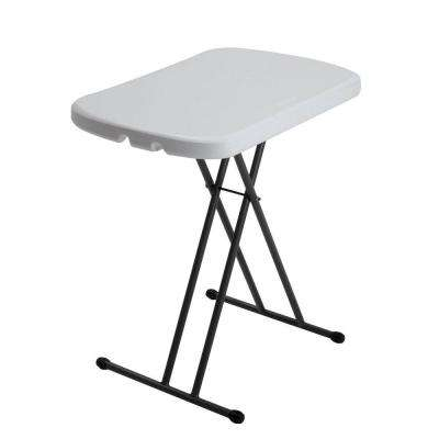 26 in. Almond Plastic Adjustable Height Folding Personal Table