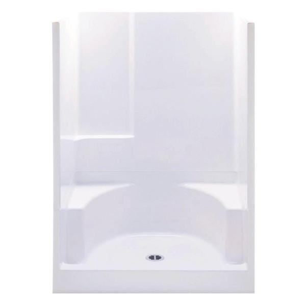 Varia 48 in. x 34 in. x 72 in. 2-Piece Shower Stall with 2 Seats and Center Drain in White