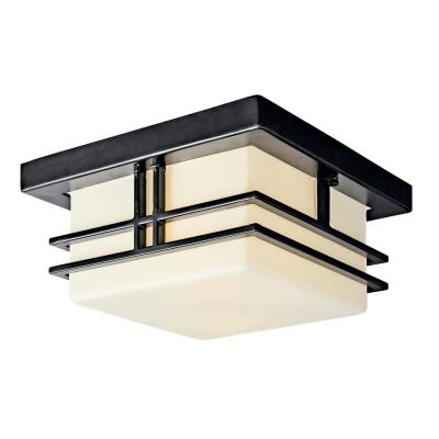 Tremillo 2-Light Black Outdoor Flush Mount with Satin Etched Cased Opal Glass