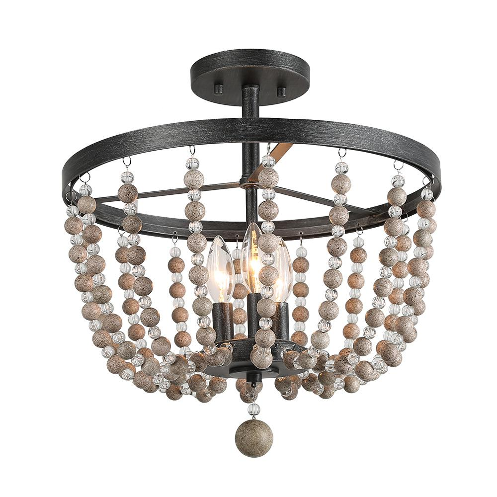 3 Light Black Wood Bead Foyer Semi Flush Mount