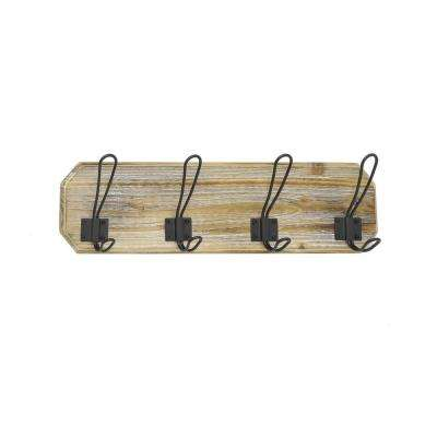 4.75 in. Wood/Metal Wall Hook in Brown