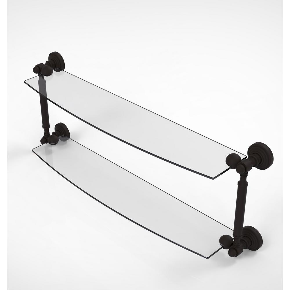 Allied Brass Waverly Place Collection 24 in. 2-Tiered Glass Shelf in Oil Rubbed Bronze