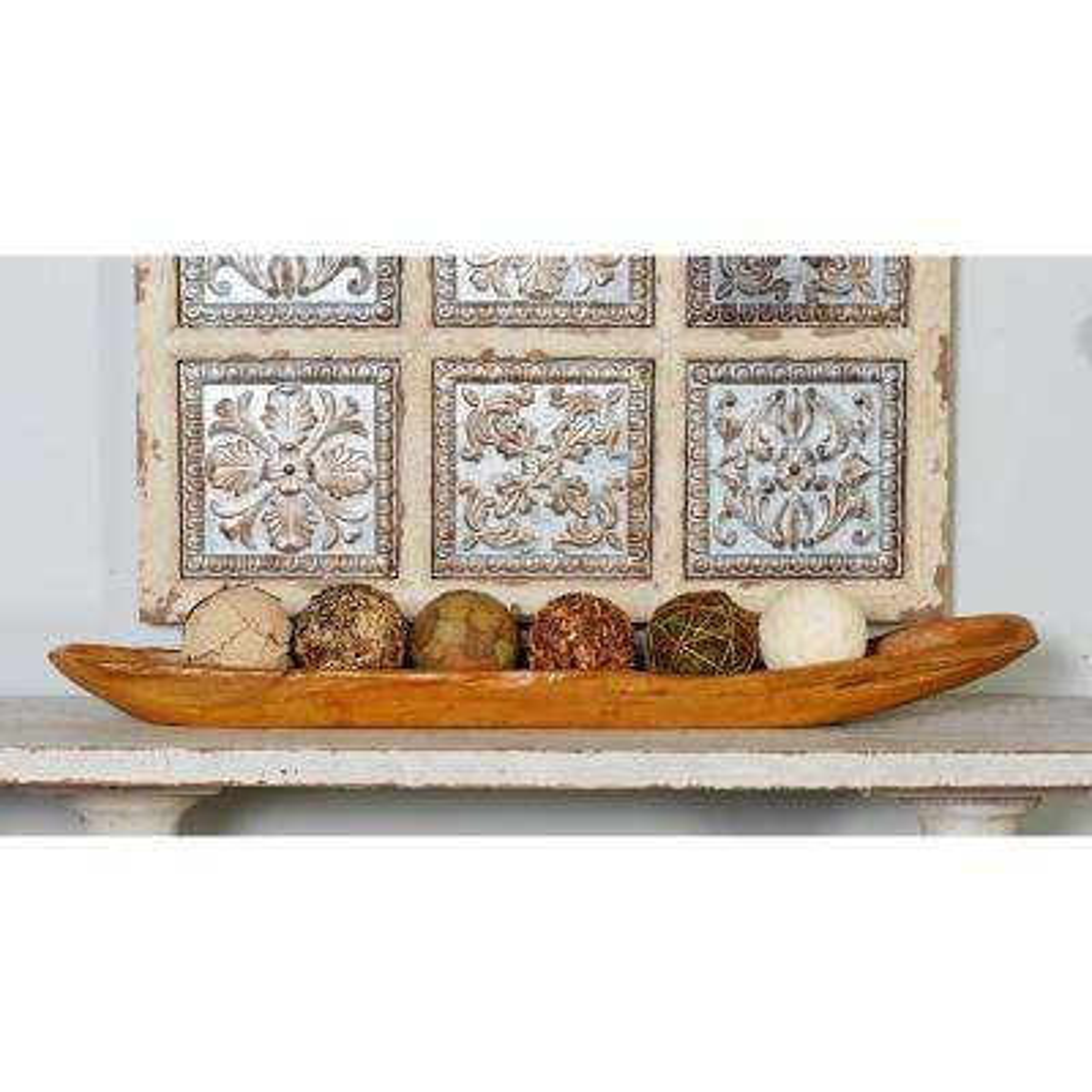 Brown Teak Wood Canoe-Shaped Long Bowl