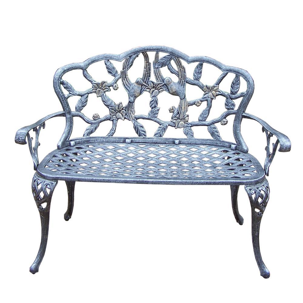 Superb Hummingbird Cast Aluminum Loveseat Bench Hd3206 Ap The Andrewgaddart Wooden Chair Designs For Living Room Andrewgaddartcom