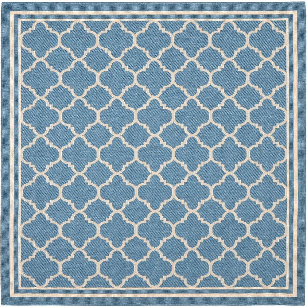 Courtyard Blue/Beige 8 ft. x 8 ft. Indoor/Outdoor Square Area Rug