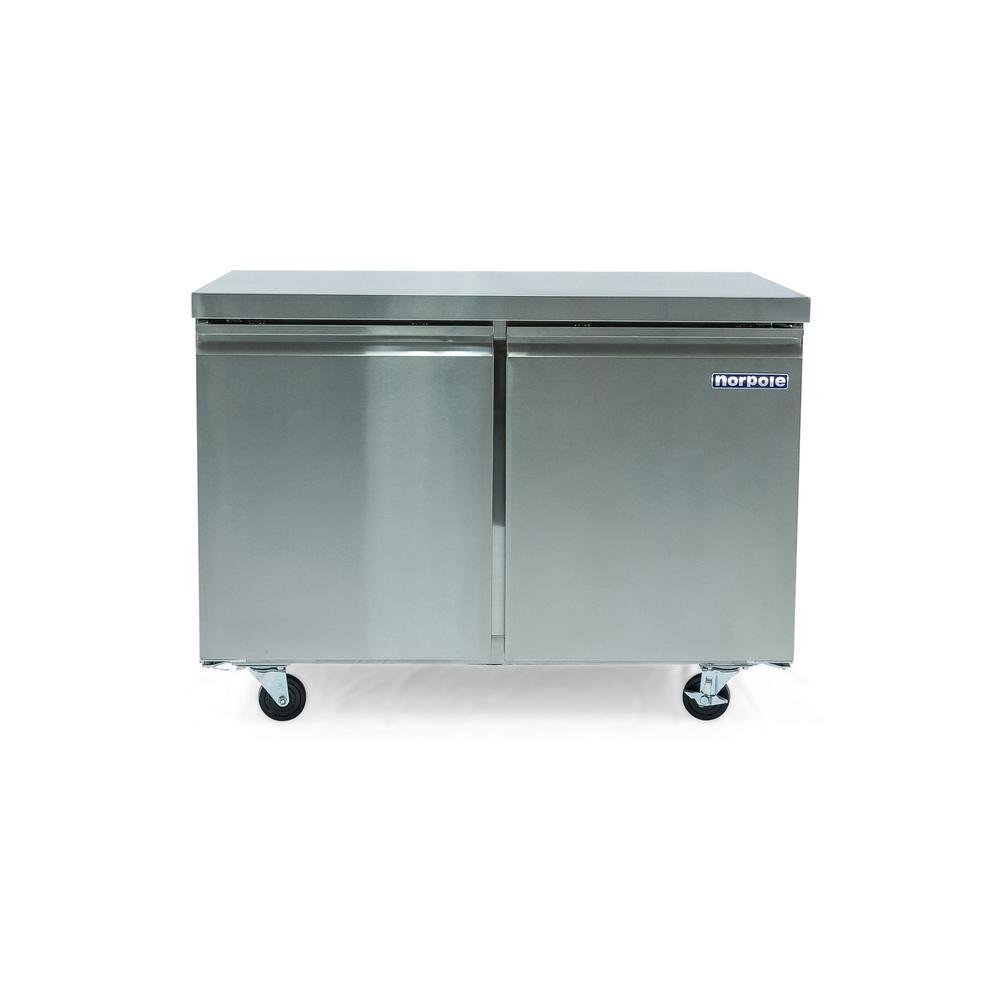 Norpole 12 cu. ft. 2 Door Under Counter Commercial Refrigerator in Stainless Steel
