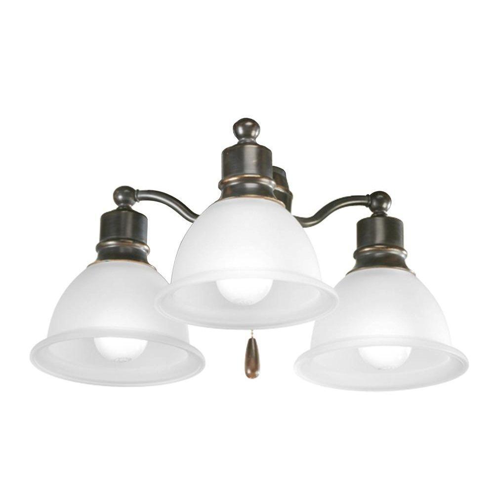 Progress Lighting Madison Collection 3-Light Antique Bronze Ceiling Fan Light