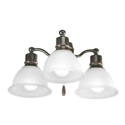 Madison Collection 3-Light Antique Bronze Ceiling Fan Light