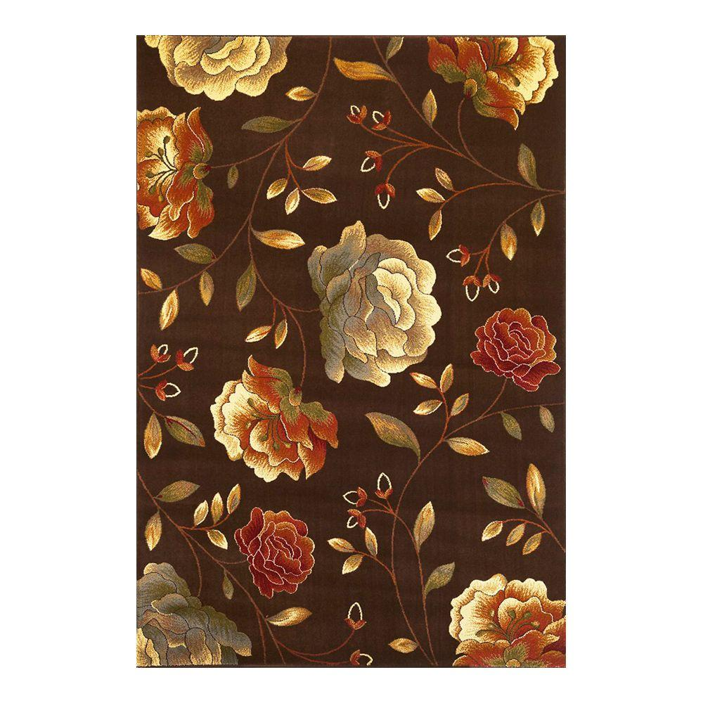 Kas Rugs Roses to Riches Mocha 3 ft. 11 in. x 5 ft. 3 in. Area Rug