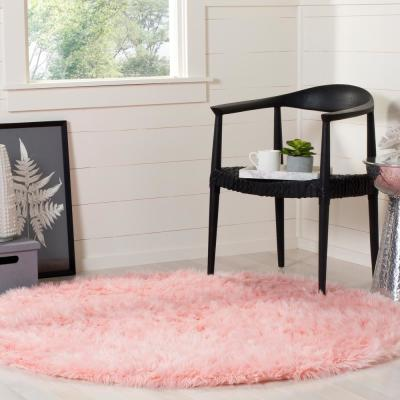 Faux Sheep Skin Pink 5 ft. x 5 ft. Round Area Rug