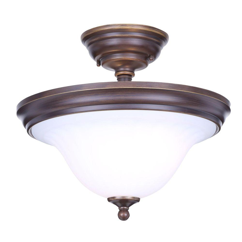 2 Light Bronze Semi Flushmount With Bell Shaped